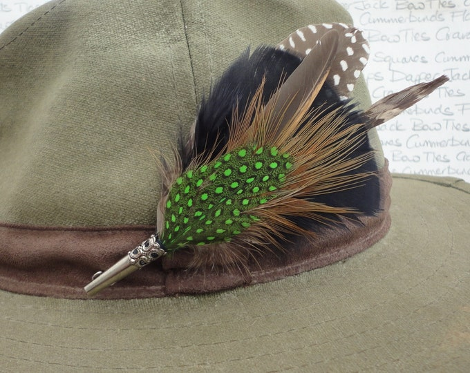 Feather hat pin, lapel pin, brooch, boutonniere