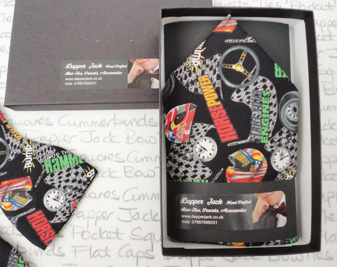 Pocket square, racing pocket square, helmets, flags and horse power novelty print pocket square