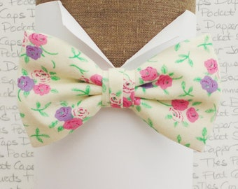 Floral bow tie, pink and lilac flowers on a cream background, self tie or pre tied bow tie, bow ties for men
