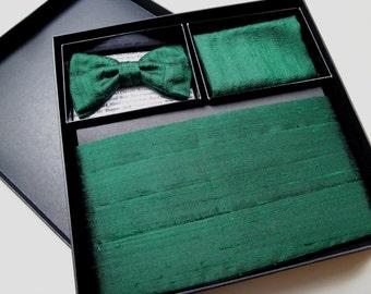 Cummerbund Bow Tie and Pocket Square Set in Silk Dupion