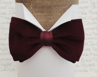 Burgundy cotton velvet and silk pre tied bow tie