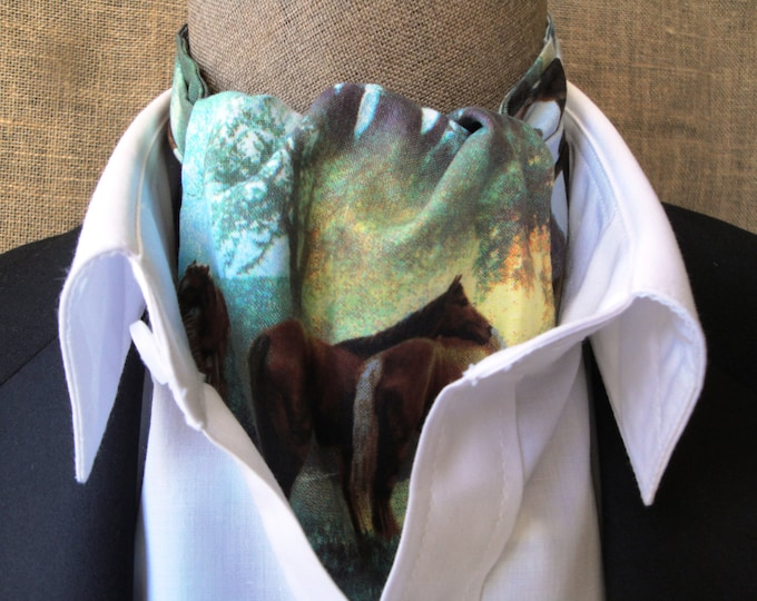 Cravat, horse print, one size fits all.