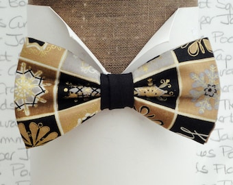 Bow ties for men, snow flakes bow tie, christmas bow tie, winter bow tie