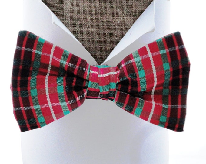 """Red Tartan Taffeta Bow Tie, pre tied or self tie bow tie will fit neck size up to 20"""" (50cms)"""