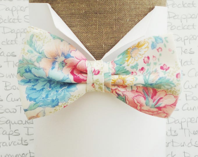 Bow ties for men, floral bow tie, pink and blue floral bow tie, summer bow tie, wedding bow tie