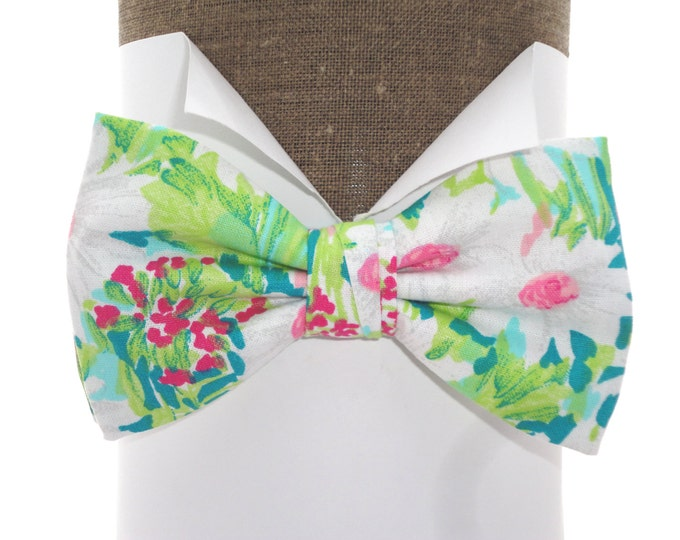 """Bow tie, ideal for weddings, daisies on jade, self tie or pre tied bow tie on an adjustable band, will fit neck size up to 20"""""""