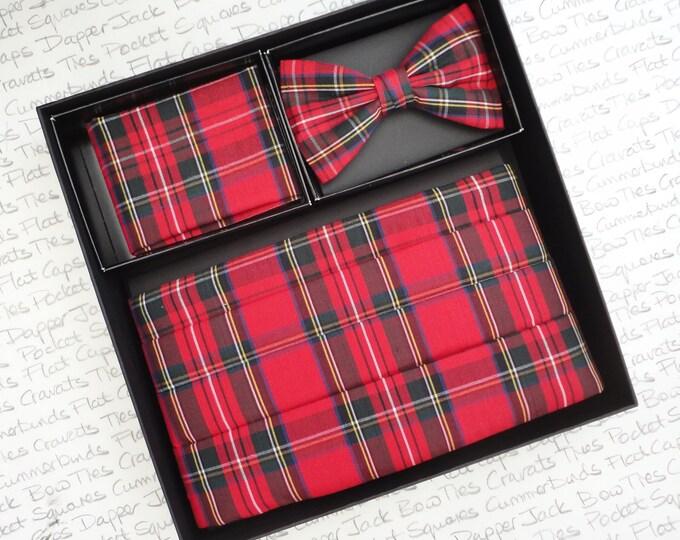 Red Tartan Cummerbund, Bow Tie and Pocket Square Set