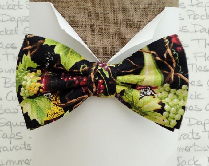 Bow ties for men, grapes and wine print bow tie, pre tied bow tie or self tie bow tie
