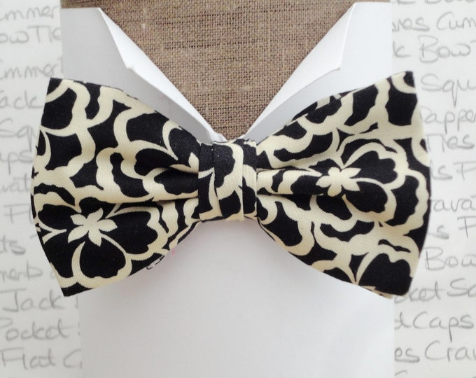 Bow tie, bow ties for men, black and cream floral self tie or pre tied bow tie