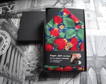 Pocket square, Pocket handkerchief, Strawberry print pocket square