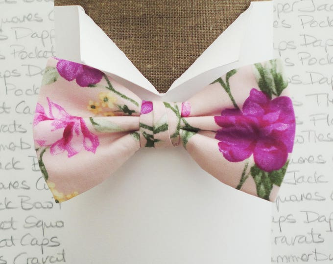 Bow tie pre tied or self tie, bow ties for men, blush pink floral bow tie