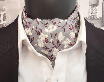 Floral Cravat, Cravats for men, Ascots for men, Ivory flowers on a grey background, Reversible cravat
