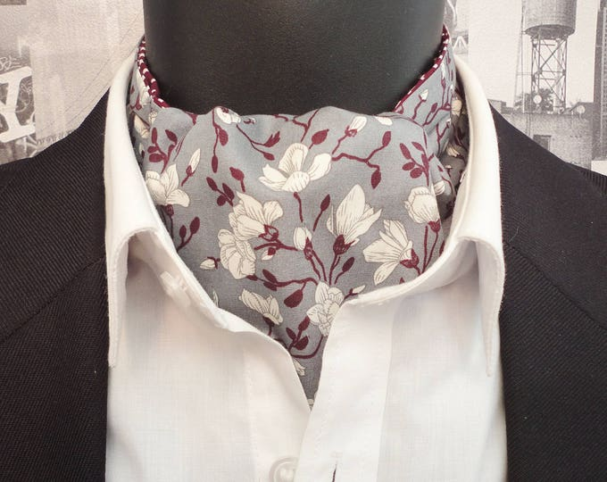 Floral Cravat, Cravats for men, Ascots for men, Ivory flowers on a grey background, Reversible cravat