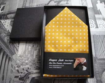 Pocket Square yellow with white spots, matches yellow and white spot bow tie