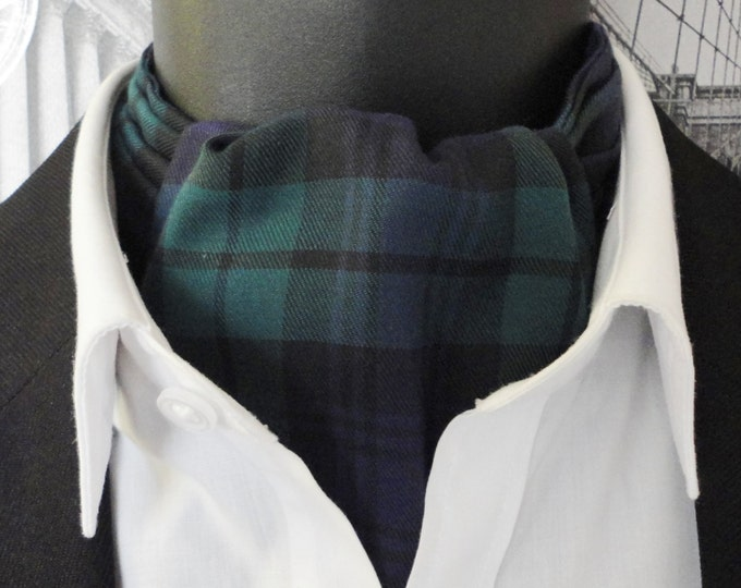 Cravat, black watch tartan cravat for men, ascots for men