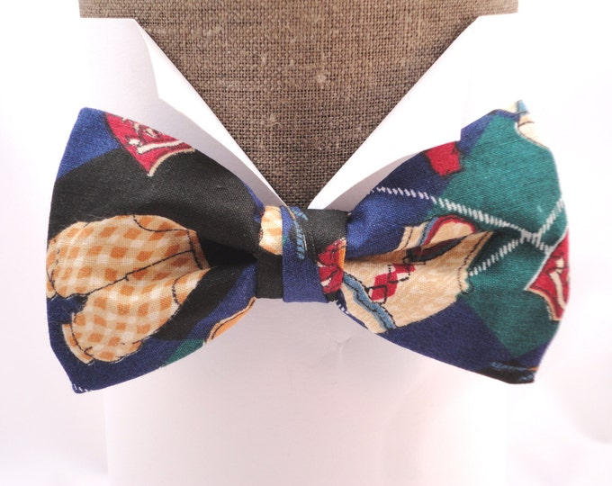 """Golf print cotton pre tied bow tie, will fit neck size up to 20"""" (50cms)"""