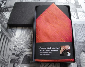 Silk pocket square, salmon pink pocket square, suit pocket handkerchief