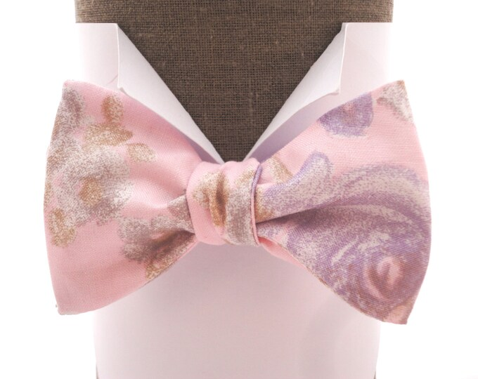 """Pale pink self tie bow tie or pre tied with lilac roses, suitable for weddings, will fit neck size upto 20"""" (50cms).t"""
