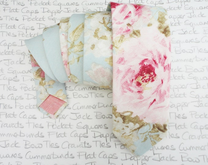 Floral wedding tie, blush pink roses on a pale aqua background, linen look cotton.
