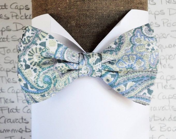 Bow ties for men, pale blue paisley bow tie, pre tied or self tie bow tie