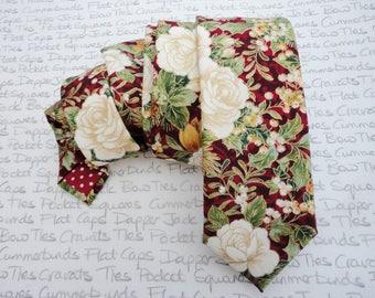 Floral Christmas tie, wedding tie, ties for men