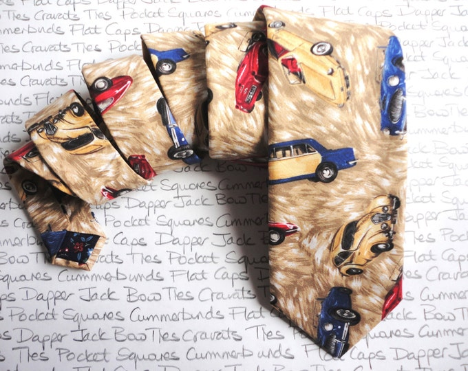 Men's Neck Tie, Classic Car Print, Hand Made Ties For Men