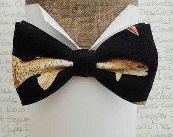 Bow tie, bow ties, fish print bow tie, pre tied bow tie, bow ties for men, bow ties for fishermen