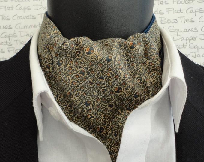 Reversible cravat, ascot, cravats for men, ascots for men, blue cravat