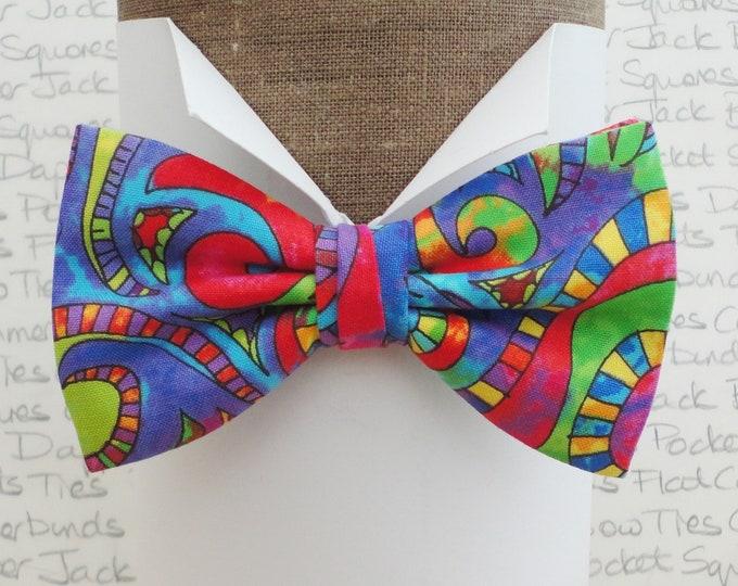 Bow tie, bow ties for men, psychedelic pre tied bow tie