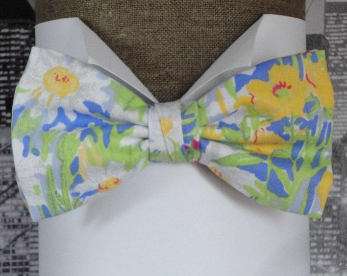 Bow tie, pre tied bow tie, blue and yellow floral bow tie, wedding bow tie, self tie bow tie