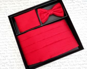 Red silk dupion cummerbund, bow tie and pocket square set
