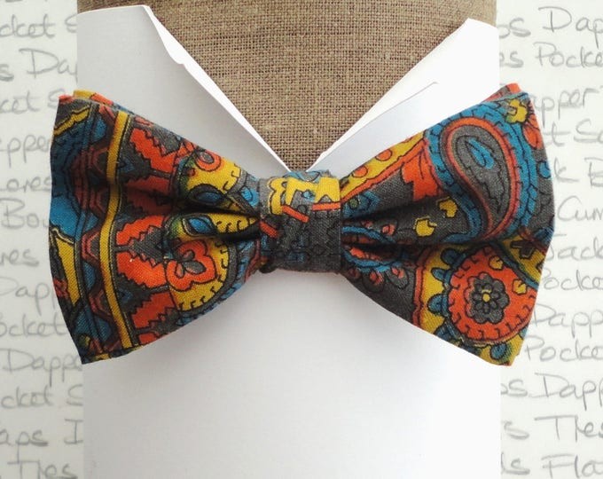 """Paisley Print Bow Tie, made from vintage fabric, pre tied bow tie, will fit neck size up to 20"""" (50cms)"""