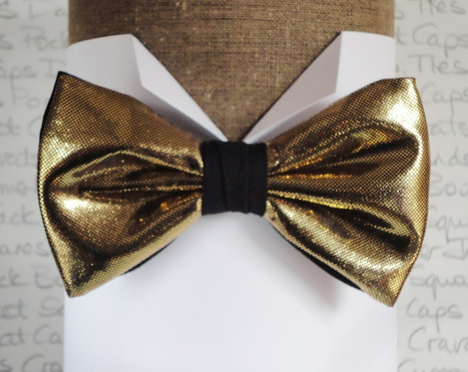 Gold bow tie, bow ties for men, pre tied bow tie