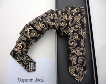 Skinny tie, gold musical print on black, ties for men