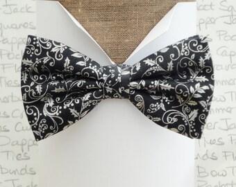 Christmas bow tie, silver on very dark grey