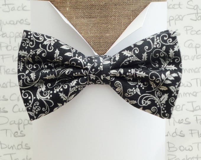 Christmas bow tie, silver on very dark grey