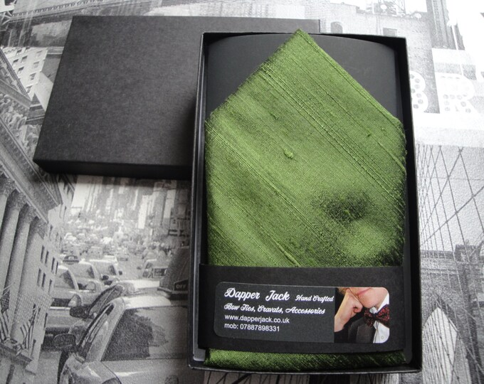 Silk pocket square, moss green pocket square in silk dupion