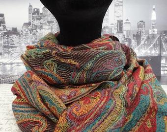 Jewel and black coloured pashmina, scarf, wrap, shawl