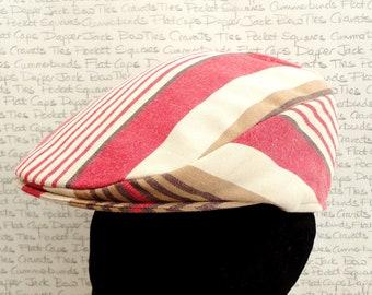 Stripe flat cap for men, golfing hat, driving hat