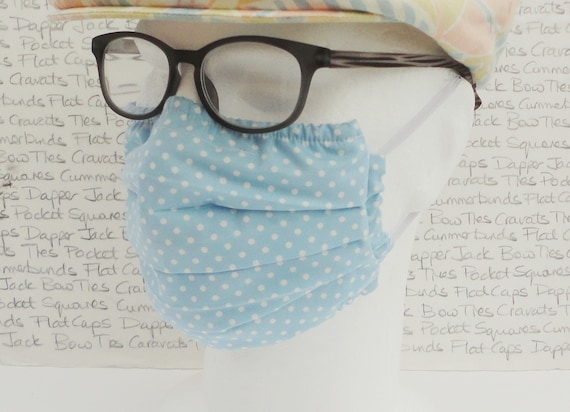 Pack of Two Pale Blue with White Spots 3 Layer Cotton Mask, Washable Face Mask, Pocket For Filter, Adult Face Mask