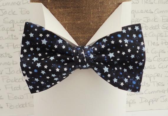 Bow Ties for Men, Stars Print Bow Tie, Blue Star on Black, Trending Ties