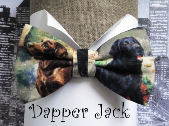 Bow tie, bow ties for men, men's bow tie. labrador dog print bow tie