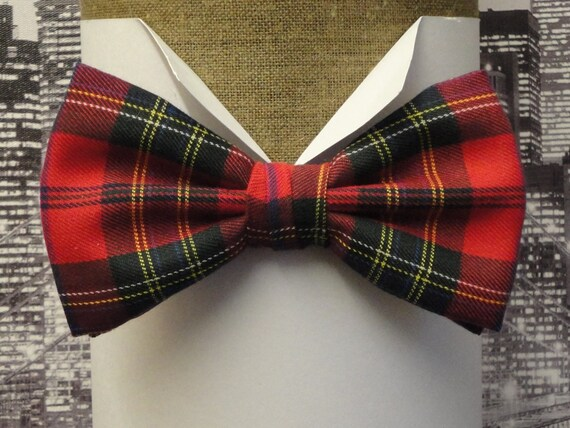 Red tartan pre tied or sself tie bow tie, Burns night bow tie
