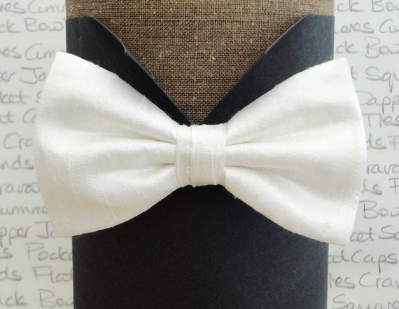 White silk bow tie, bow ties, bow ties for men, silk bow ties