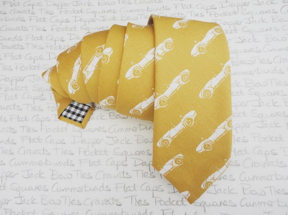 Sports Car Print Neck Tie, Mustard Tie, Trending Ties, Standard Tie, Fashion For Him, Fathers Day Gift