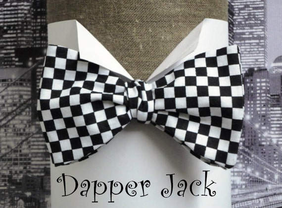 Bow Tie, Self Tie or Pre Tied Bow Tie, Chequered Flag Bow Tie, Chequerboard Bow Tie, Chessboard Bow Tie