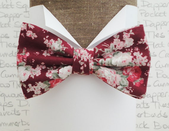 Floral bow tie, blush pink and sage green on a burgundy background pre tied or self tie bow tie