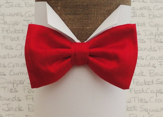 Red silk dupion bow tie, bow ties for men, silk bow ties, pre tied bow tie, self tie bow tie