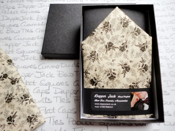 Pocket Square, black roses on a cream cotton