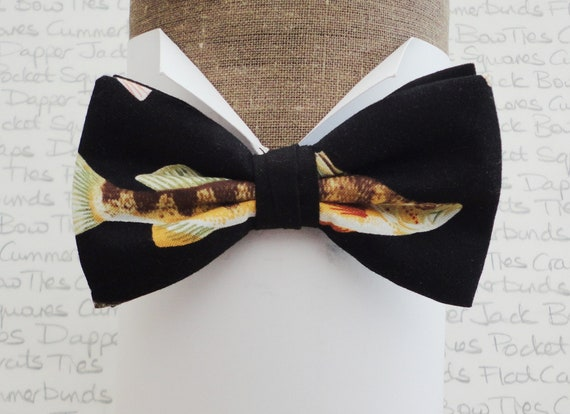 Bow tie, bow ties for men, fish print bow tie, fisherman's bow tie, pre-tied bow tie